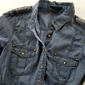 Forever 21 Long Sleeved Button Down w/ Faux Studs